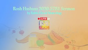 Rosh Hashana 2020-5781 Sermon by Rabbi Dovid Shmerling